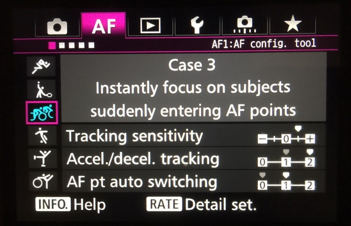 Canon 7d markII AF settings
